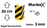Marbex Anfahrschutz, Rammschutzecke Regal, U Form 300mm, Stapler Gabelstapler Palettenregal Schwerlastregal Eckschutz Halle Lager 30cm 3mm