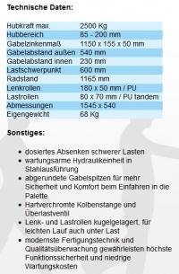 Hubwagen lang 1150 mm ( 2,5t / 2500kg )