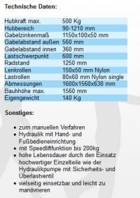 Hochhubwagen Transporter 1200 mm /  500 Kg