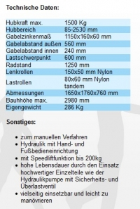 Hochhubwagen 2500mm Info