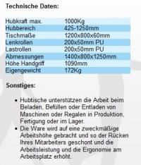 Hubtischwagen 1000 Kg ( 1t / 1,0 tonnen )