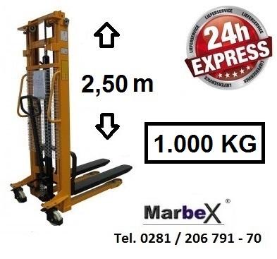 Hochhubwagen Tragkraft 1000Kg / 2500mm / 2,5m Hoch